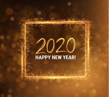 Gold 2020 Happy New Year party invitation background 向量圖像
