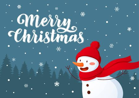Smiling snowman Christmas character standing on hill background cartoon style illustration with hand drawn lettering.