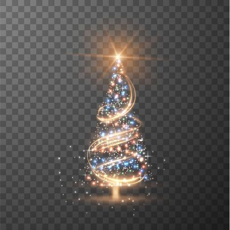 Merry Christmas transparent shiny tree silhouette on checkered background 向量圖像