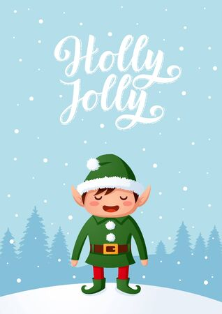 Smiling Santa elf Christmas character vector background cartoon style vector illustration with hand drawn lettering.