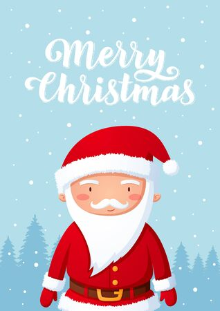 Smiling Santa Claus Christmas character standing on snow hill background cartoon style illustration with lettering 向量圖像