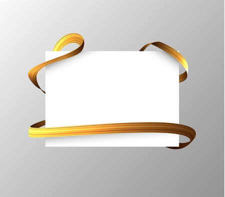 Blank sheet with golden ribbon wrapped around. Vector .