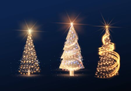 Shiny magic Christmas tree collection vector element background. 向量圖像