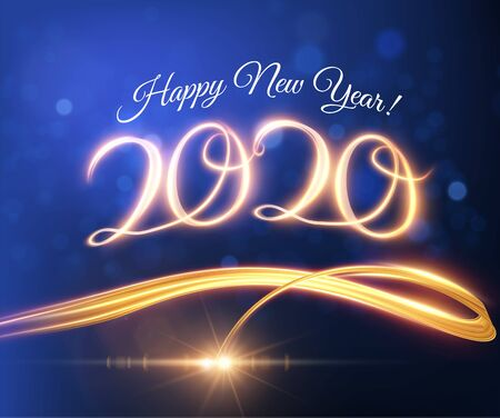 2020 New year background with light tail vector background. . 向量圖像