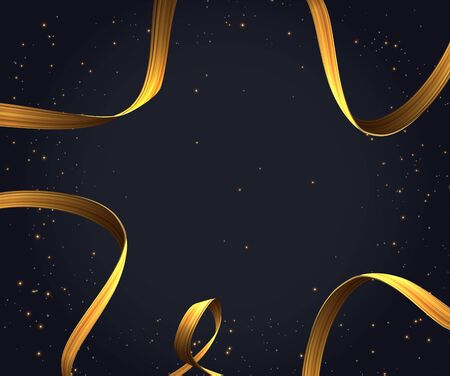 Golden ribbon background for christmas holidays. Vector 向量圖像