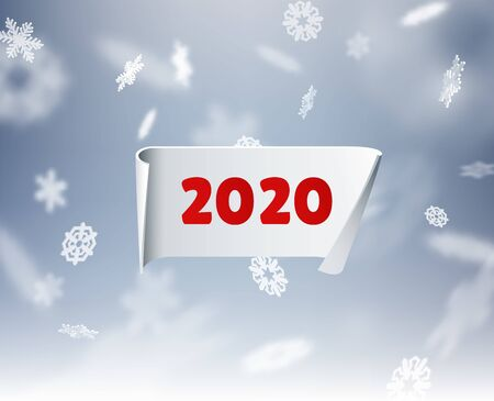 2020 New year holiday background with stylish paper 3d ribbon and beautiful snowflakes. Vector eps10. 向量圖像