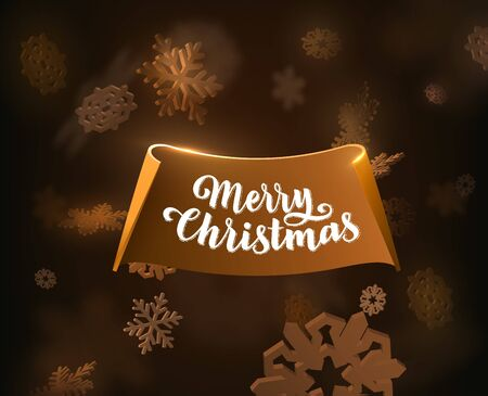 Merry Christmas holiday background with hand drawn text stylish paper 3d ribbon and stylish spotlight