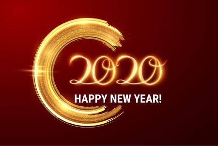 2020 New year background with golden textured dry brush circular shape stroke and light painted text. EPS10. Happy new year party invitation. Christmas golden decoration Ilustrace