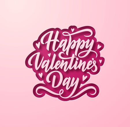 Paper layers cutout Happy Valentines Day holiday vector square background with stylish hand drawn lettering.