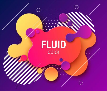 Fluid neon colored liquid shaped paper background. Vector eps10 Иллюстрация