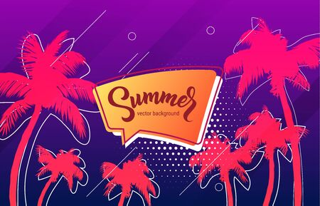 Summer neon disco electronic music retro style party stylish background template for posters or flyers with tropical palm trees silhouettes with hand drawn lettering text. Vector eps10