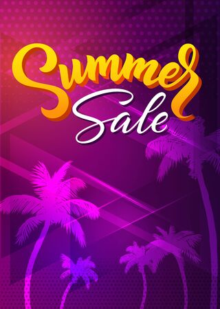Summer neon disco 80s synthwave retro style stylish background template for sale posters or clearance flyers with tropical palm trees silhouettes with hand drawn lettering text. Vector eps10 Иллюстрация