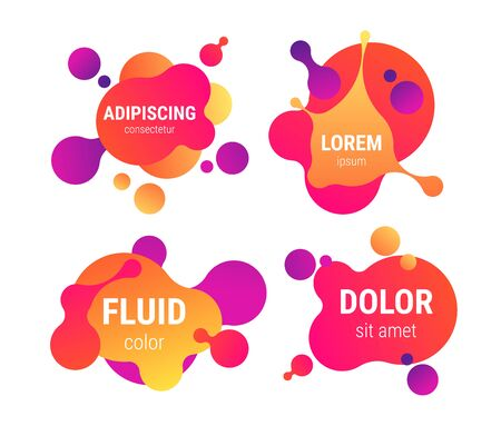 Fluid 80s disco neon colored liquid shaped text frames collection background. Vector eps10