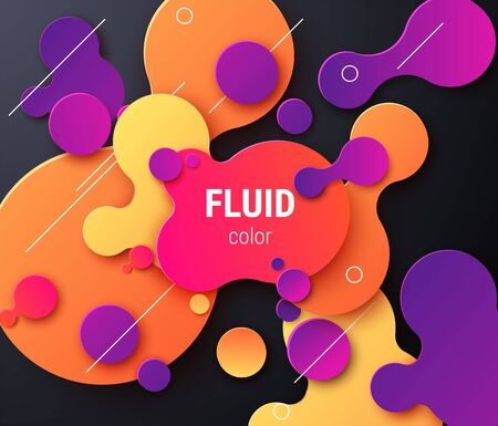 Fluid 80s disco neon colored liquid shaped text frame background. Vector eps10 Иллюстрация