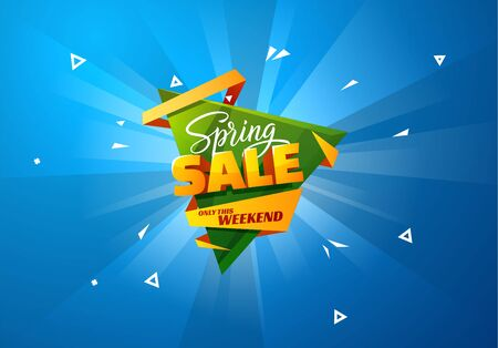 Spring sale vector stylish background with triangle shape. EPS10