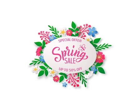 Spring vector background with paper cut flowers and geometric frame and hand drawn lettering.