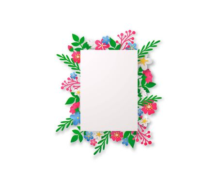 Spring vector background with paper cut flowers and geometric frame. Rectangular or square paper border for text.