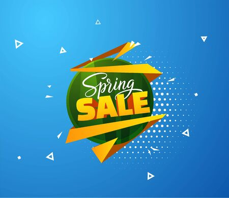 Spring sale vector background with hand drawn lettering text. EPS10