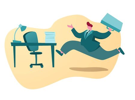 Running businessman cartoon character to his office vector background.