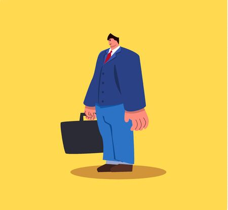 Standing business man character with suitcase. Vector eps10