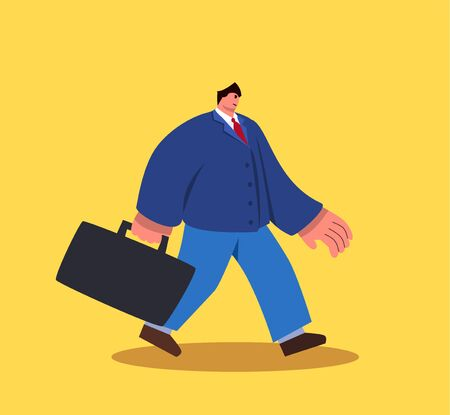 Walking business man with big heands and small head character with suitcase. Vector eps10 Иллюстрация
