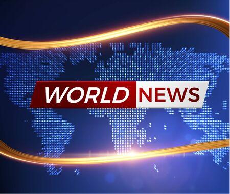 Breaking world news vector background with golden wavy line. EPS10