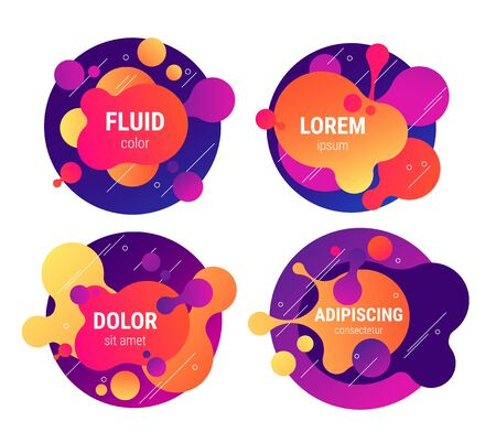 Fluid neon colored liquid shaped text frames collection background. Vector eps10