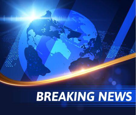 Breaking news vector background with golden wavy line. EPS10 Stock Illustratie
