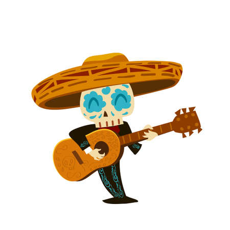 Mariachi skeleton in sombrero playing a guitar Stock Illustratie