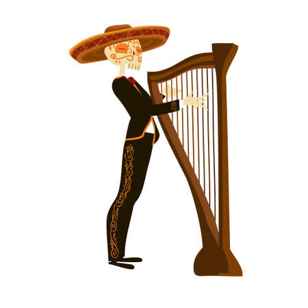 Mariachi skeleton in sombrero playing a harp Stock Illustratie