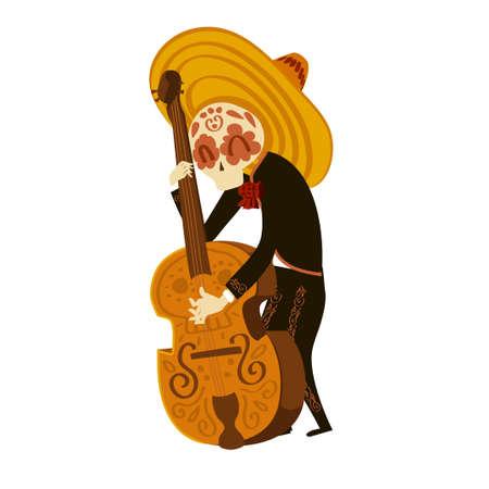 Mariachi skeleton in sombrero playing a contrabass Stockfoto - 157912961