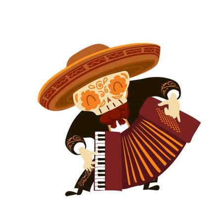 Mariachi skeleton in sombrero playing an accordion Stock Illustratie