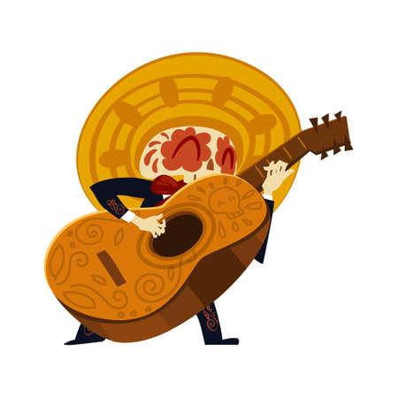 Mariachi skeleton in sombrero playing a guitarron