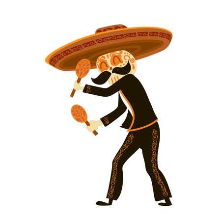 Mariachi skeleton in sombrero playing maracas