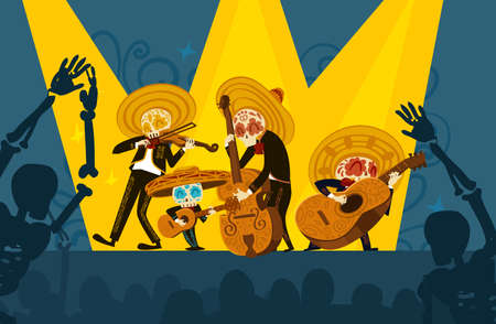 Mariachi skeleton musical band giving a concert Stock Illustratie