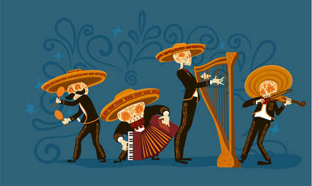 Cute Mariachi skeleton band playing musical instruments