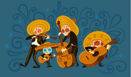 Funny Mariachi skeleton band playing musical instruments Stock Illustratie