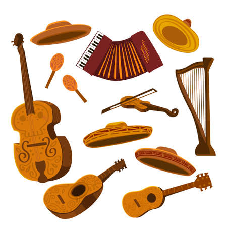Set of mariachi musical instruments and sombreros
