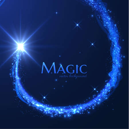 Magic shooting star with tail of glittering particles. Concept for holiday vector festive background or greeting card. Stockfoto - 159411109