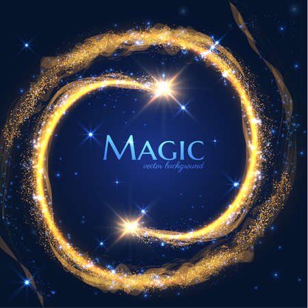Magic shooting star with tail of glittering particles. Concept for holiday vector festive background or greeting card.