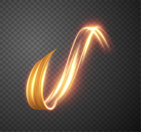 Golden shiny light trail lines vector background. EPS10