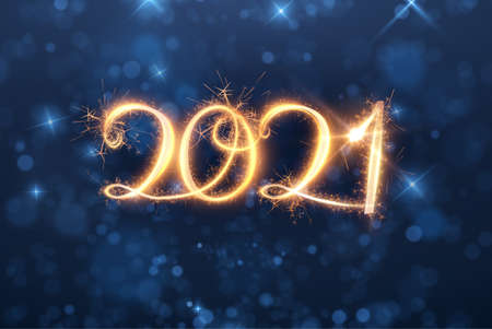 2021 New year shiny vector background light writing. Energy motion. Stock Illustratie
