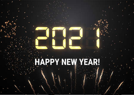 2021 New year shiny vector background light shiny digits. Holiday firework. Stock Illustratie