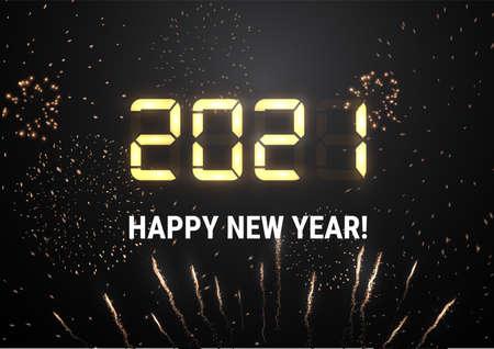 2021 New year shiny vector background light shiny digits. Holiday firework. Stockfoto - 159723086