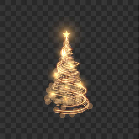 Shiny christmas tree with shining star on top vector background