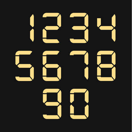 Digital numbers collection. LED numbers for time or clocks display. Vector eps10.