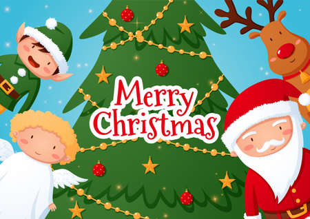 Illustration with Christmas tree and cartoon characters