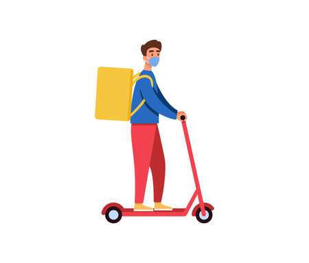 Food delivery guy riding electric scooter vector illustration