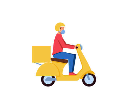 Delivery man courier on a yellow scooter vector illustration