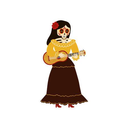 Female mariachi musician skeleton playing a vihuela vector illustration
